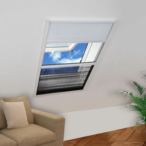 """Insect Plisse Screen Window Aluminum 63""""x31.5"""" with Shade - 7'6"""" x 9'6"""""""