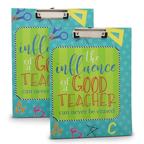 2 Pack Clipboard Folio with Notepad Folder Paperboard Portfolio for Teachers, A4 Letter Size