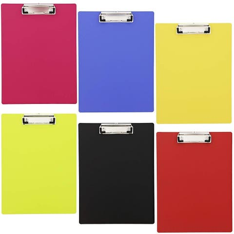 "6x Neon Plastic Clipboard Large Heavy Duty 9""x12"" for Teacher Nurse Industrial"