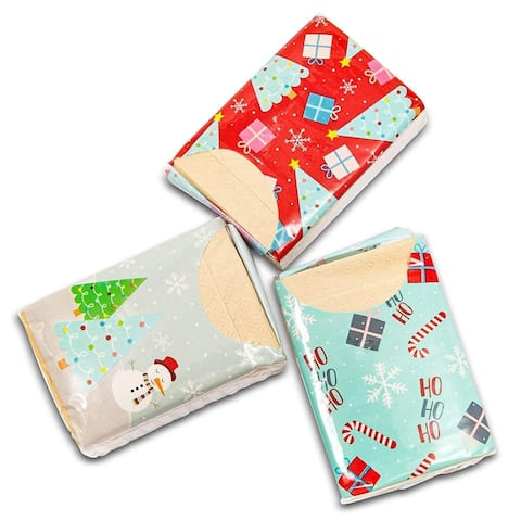 72 Pack Christmas Design Facial Pocket Travel Tissue Packs, Gift for Students Kids Christmas Party, 3 Ply Made of Natural Bamboo