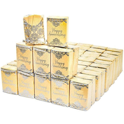 60 Pack Happy Anniversary Facial Pocket Travel Tissue Packs, Gift for Wedding Anniversary Party, 3 Ply Made of Natural Bamboo