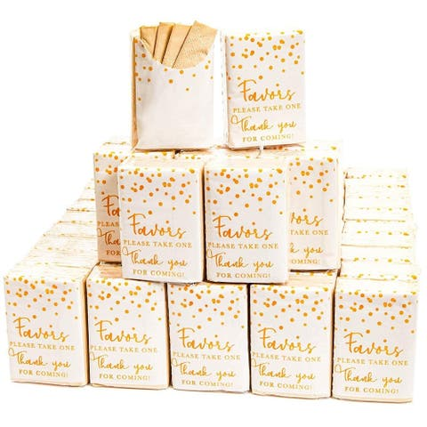 60Pack Thank You for Coming Facial Pocket Travel Tissue Packs, Gift for Wedding - Brown