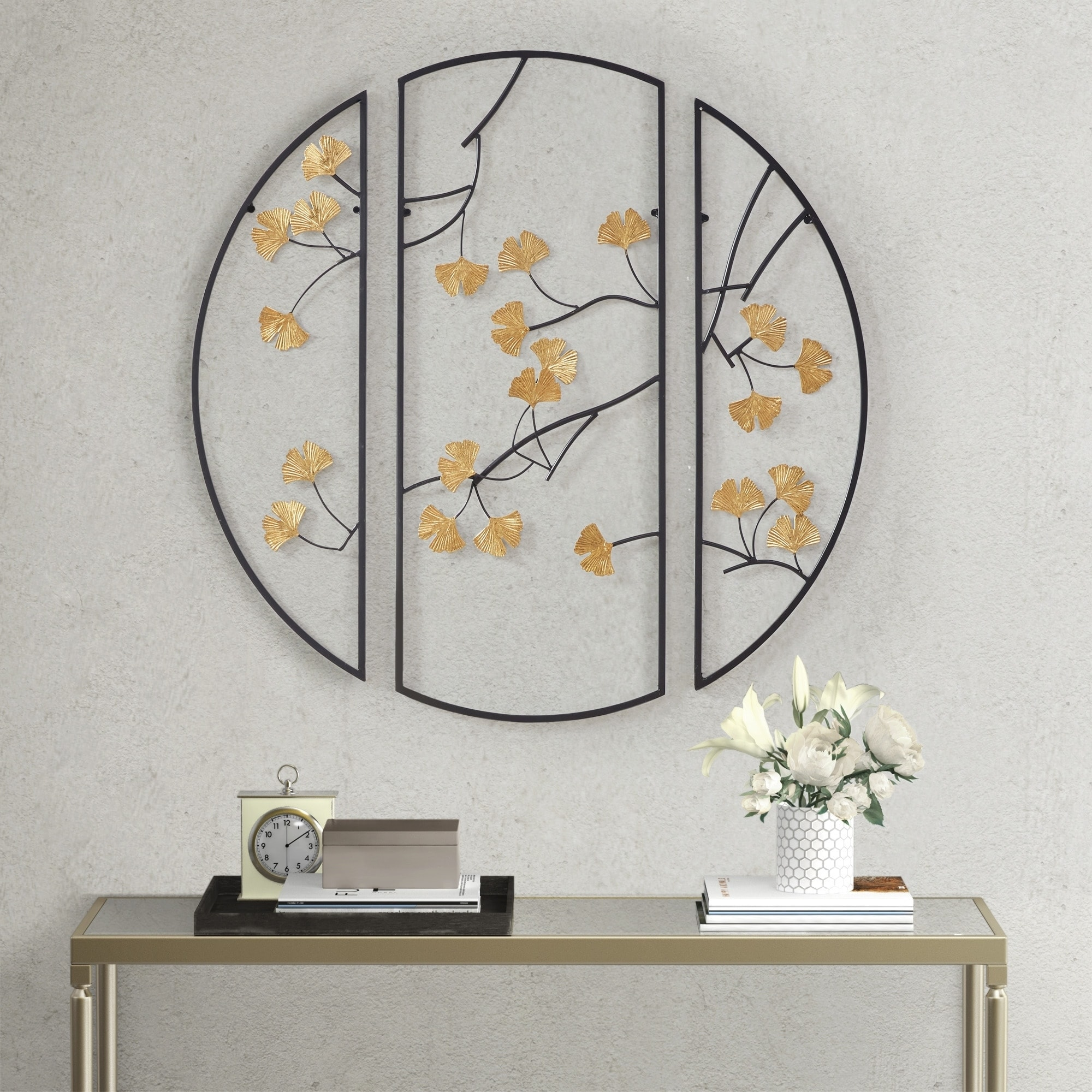Madison Park Golden Gingko Leaves Black Gold Metal Wall Decor 3pc Set On Sale Overstock 31094594