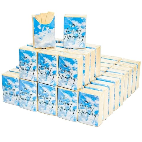 60 Pack In Loving Memory Funeral Facial Pocket Travel Tissue Packs, 3 Ply Made of Natural Bamboo - Brown