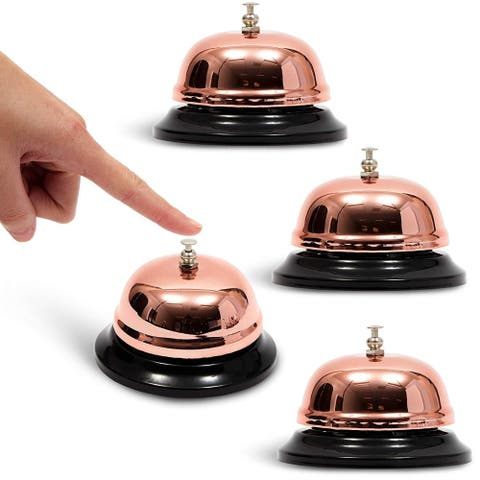 4x Call Bell for Elderly Patients Customer Service Reception Rose Gold 3.3""