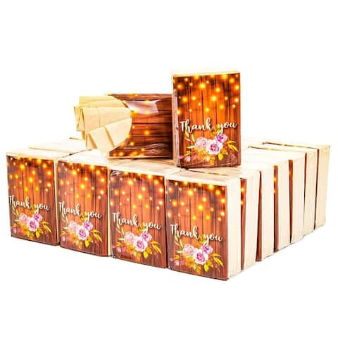 60Pack Rustic Wood Thank You Facial Pocket Travel Tissue Packs for Bridal Shower - Brown