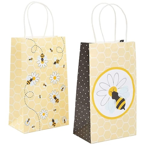 24-Pack Bumble Bee Party Paper Gift Bags with Handles for Baby Shower Birthday Parties, Yellow, 5 x 9 x 3 Inches