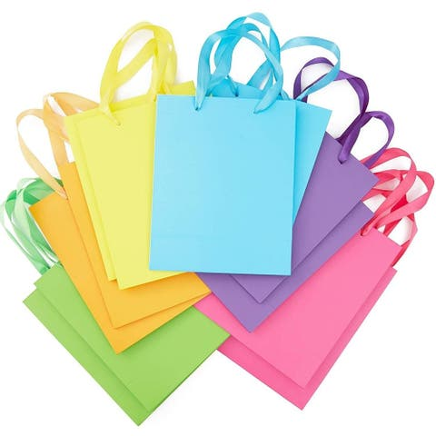 12x Rainbow Party Favor Paper Gift Bags w/ Ribbon Handles Tissue Papers Birthday