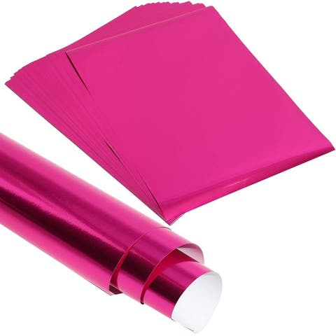 50x Fuchsia Metallic Foil Shimmer Paper for Weddings Birthdays Wrapping 8.5x11""