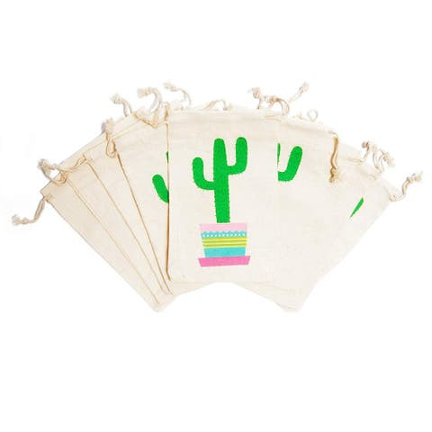 20 Pack Cactus Fiesta Mexican Theme Kids Party Favor Bags Drawstring Gift Bag