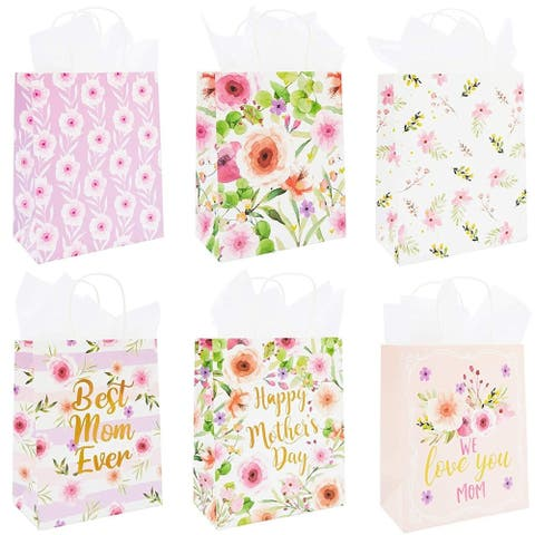 12-Pack Mothers Day Paper Gift Bags with Handles Tissue Paper Happy Mother's Day, 6 Floral Designs, 10 x 8 Inches
