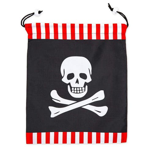 12 Pack Pirate Skull Kids Party Favor Bags Drawstring Gift Bag for Girls Boys