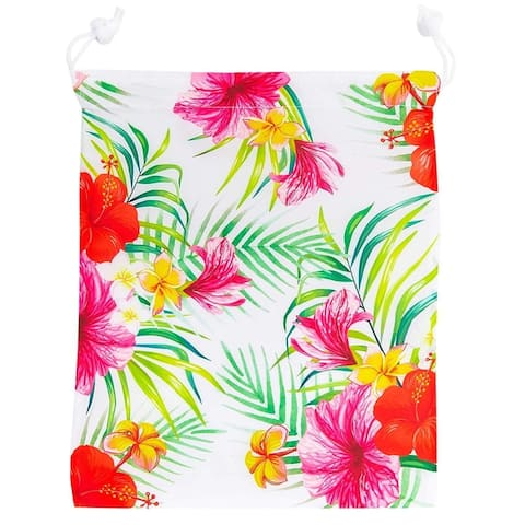 12 Pack Hawaiian Luau Tropical Kids Party Favor Bags Drawstring Gift Bag