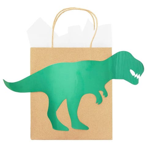 24-Pack Dinosaur Party Favor Bags with Handles Kraft Paper Bag for Kids Birthday Parties, Green Foil, 8 x 9 Inches