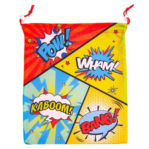 12 Pack Superhero Comic Book Kids Party Favor Bags Drawstring Gift Bag Birthday