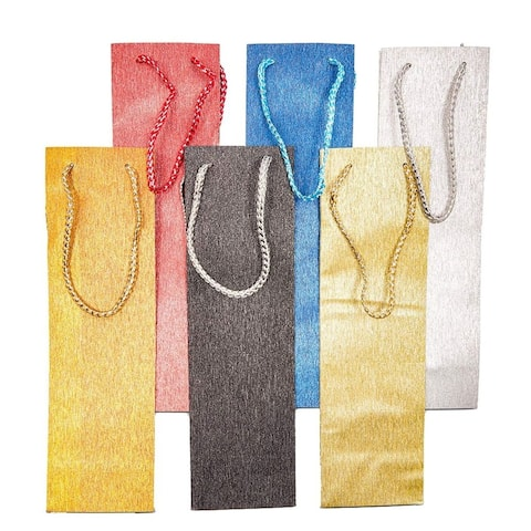 12x Wine Bottle Gift Bags with Handles, 6 Glitter Colors, 3.9 x 3.2 x 13.35 inch