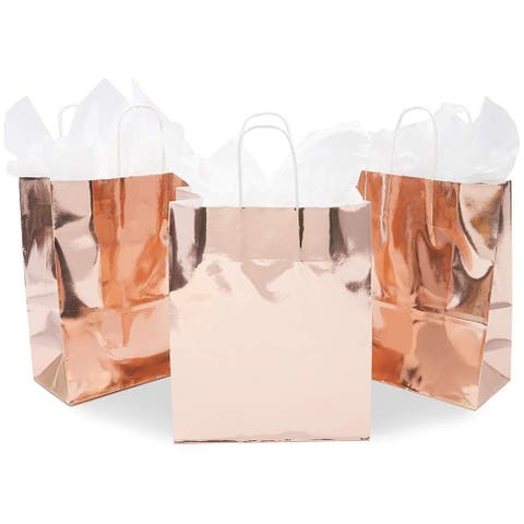 15x Rose Gold Metallic Party Favor Gift Bags with Handles Weddings 8 x 10 x 4 in