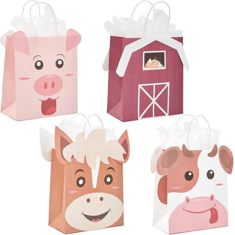 16x Barnyard Animal Kraft Paper Gift Bags with Handles Tissue Papers for Birthday