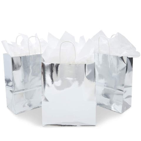 15x Metallic Silver Foil Paper Gift Bag with Handles Tissue Papers 10 x 8 x 4 in