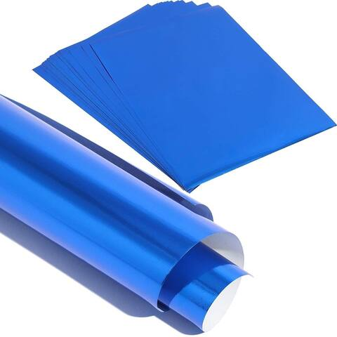 50x Blue Metallic Foil Shimmer Paper for Weddings Birthdays Wrapping 8.5x11""
