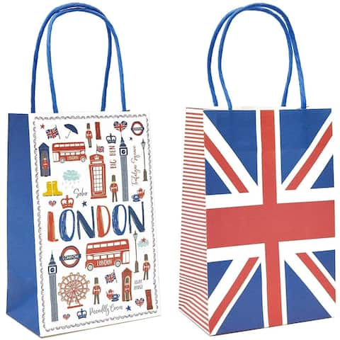 24x UK London Flag Paper Gift Bags with Handles for Birthday Baby Shower Party