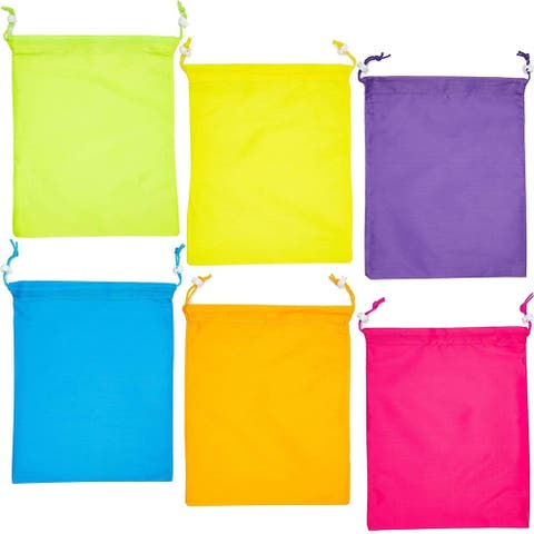 12 Pack Neon Kids Party Favor Bags Drawstring Gift Bag for Girls Boys Birthday