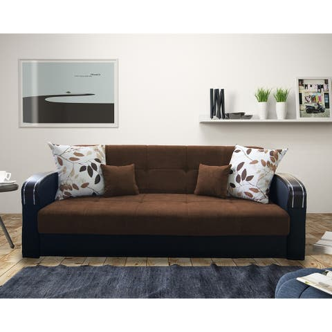 Halstead Chocolate Brown Fabric Convertible Sofa with Storage