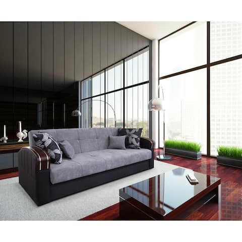 Halstead Grey Fabric Convertible Sofa with Storage