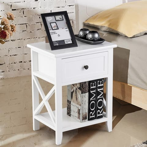 Bedroom Accents Furniture End Table Nightstand with Drawer & Shelf