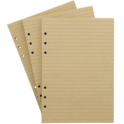 """240x Lined Filler Paper Binder Notebook Papers 6 Hole Punch 6x 8.3"""", Brown"""