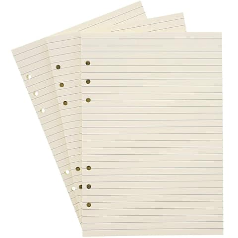 """240x Lined Filler Paper Binder Notebook Papers 6 Hole Punch 6x 8.3"""", Beige"""