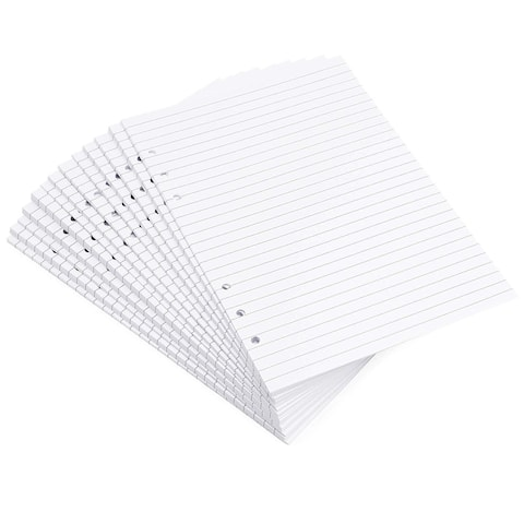 """250x Lined Filler Paper Binder Notebook Papers 6 Hole Punch 5.5 x 8.5"""", White A5"""