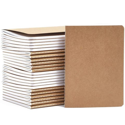 """24Pack Travel Journal A6 with Kraft Brown Cover Mini Pocket Notebooks, 5.7x4.1"""""""