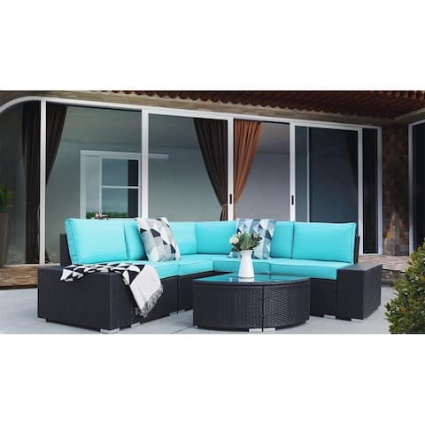 Merax 6 Piece Rattan Sectional Seating Group with Cushions