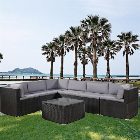 Merax Outdoor 7 Piece Sectional Seating Group with Cushions