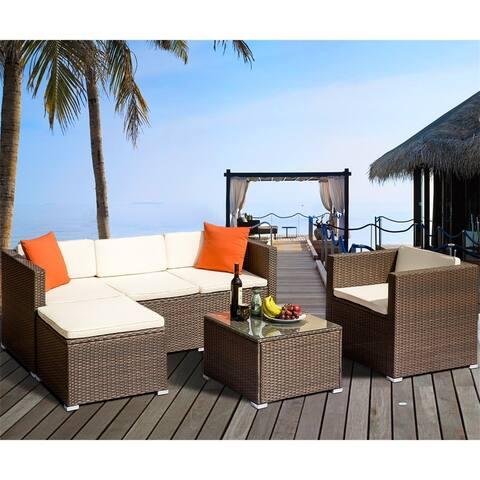 Merax 4 Piece Rattan Patio Sectional Sofa Set with Cushions