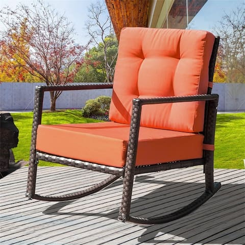 Merax Outdoor Patio Wicker Rocking Chair with Cushions