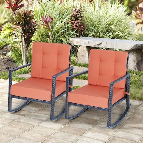 Merax Outdoor Rattan Rocking Chair with Cushion, Set of 2