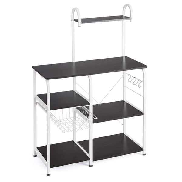 Utility Storage Shelf Kitchen Organizer Rack Organizer lOOkME-H Standing Bakers Rack 35.5 Microwave Stand 4-Tier 3-Tier Shelf