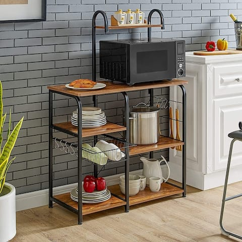 "35.5"" Kitchen Baker's Rack Utility Storage Shelf Microwave Stand Workstation with 10 Hooks(4-Tier)"