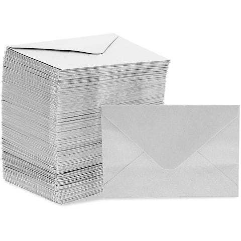 200x Mini Envelopes for Gift Cards Greeting Wedding Birthday, Silver 4 x 2.7 in.
