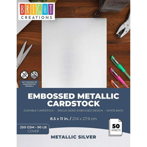 "50x Textured Embossed Metallic Cardstock Paper for DIY Crafts 8.5 x 11"" Silver"