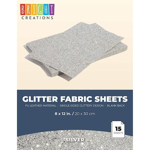 15x Glitter Fabric Sheets, Faux PU Leather for DIY Crafts, Silver, 8 x 12 inch