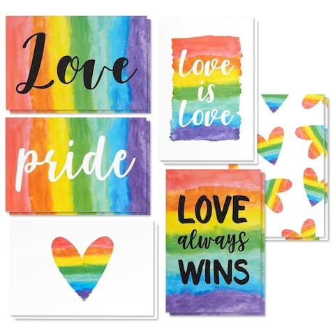 48x Rainbow Pride LGBT Love Designs All Occasion Greeting Cards w/ Envelopes