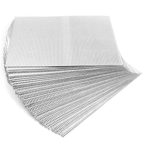 48x Metallic Corrugated Cardboard Sheets Paper for DIY Crafts Silver 8.5 x 11""