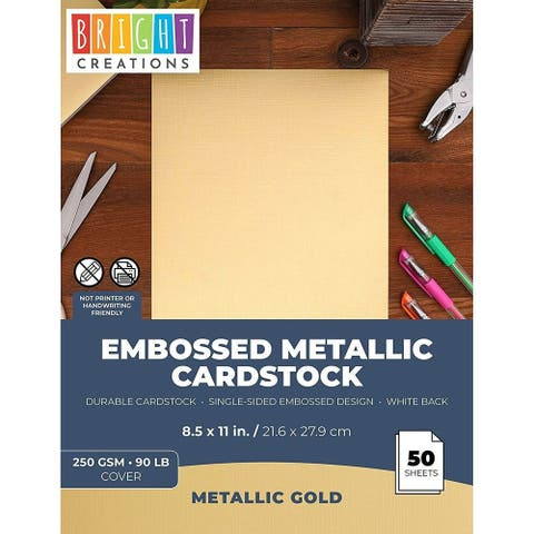 "50x Textured Embossed Metallic Cardstock Paper for DIY Crafts 8.5 x 11"" Gold"