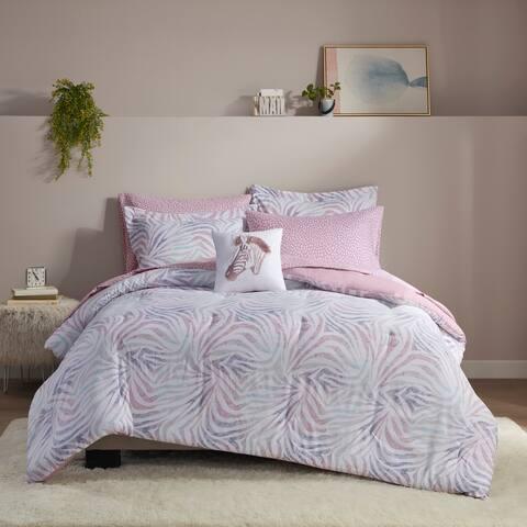 Intelligent Design Maya Lavender Zebra Printed Comforter and Sheet Set