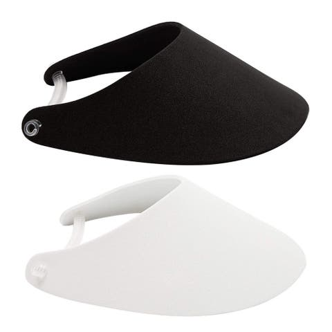 16x Black White Foam Sun Visors Caps with Coil Bands for Crafts, 9.25 x 7 inch