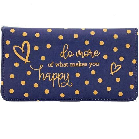 "Checkbook Cover Check Book Case Printed Blue Polka Dot Wallet for Women 7 x3.75"""