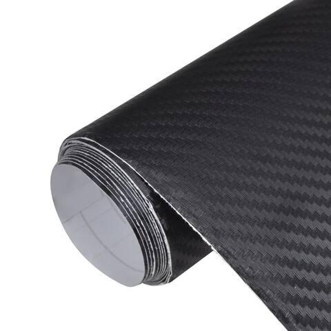 "Carbon Fiber Vinyl Car Film 3D Black 60"" x 79"" - 2' x 8' Runner"